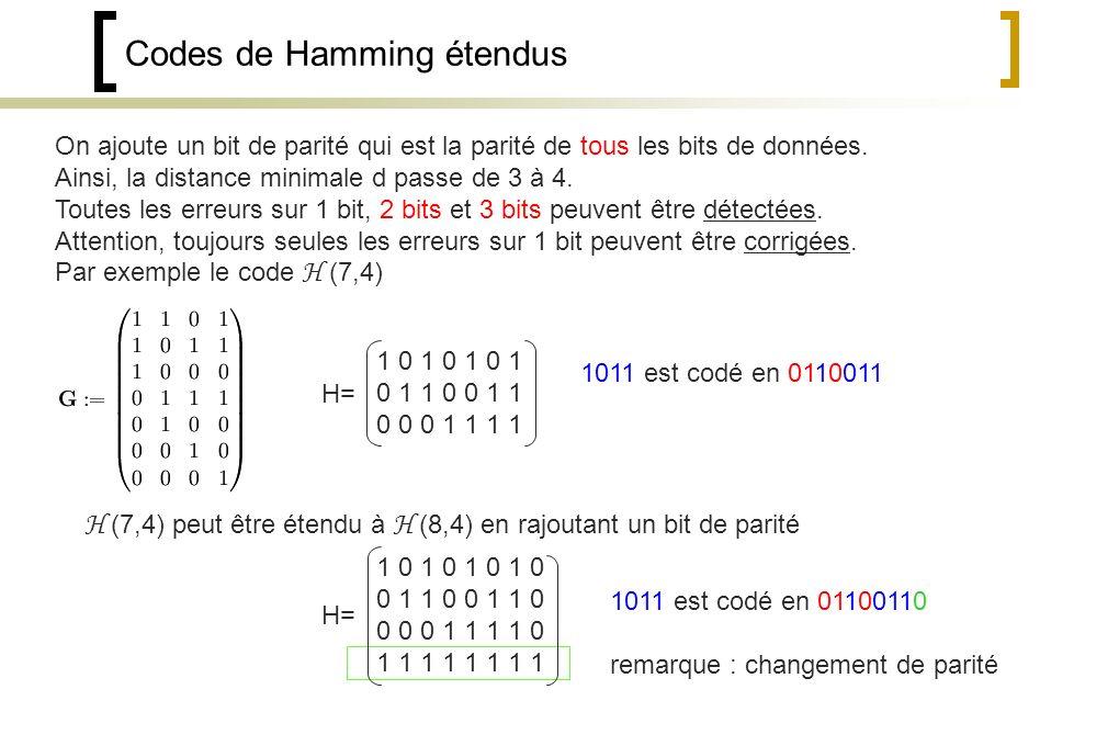 Codes de Hamming étendus