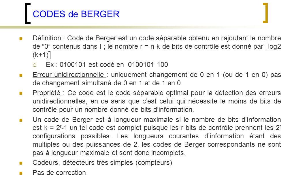 CODES de BERGER
