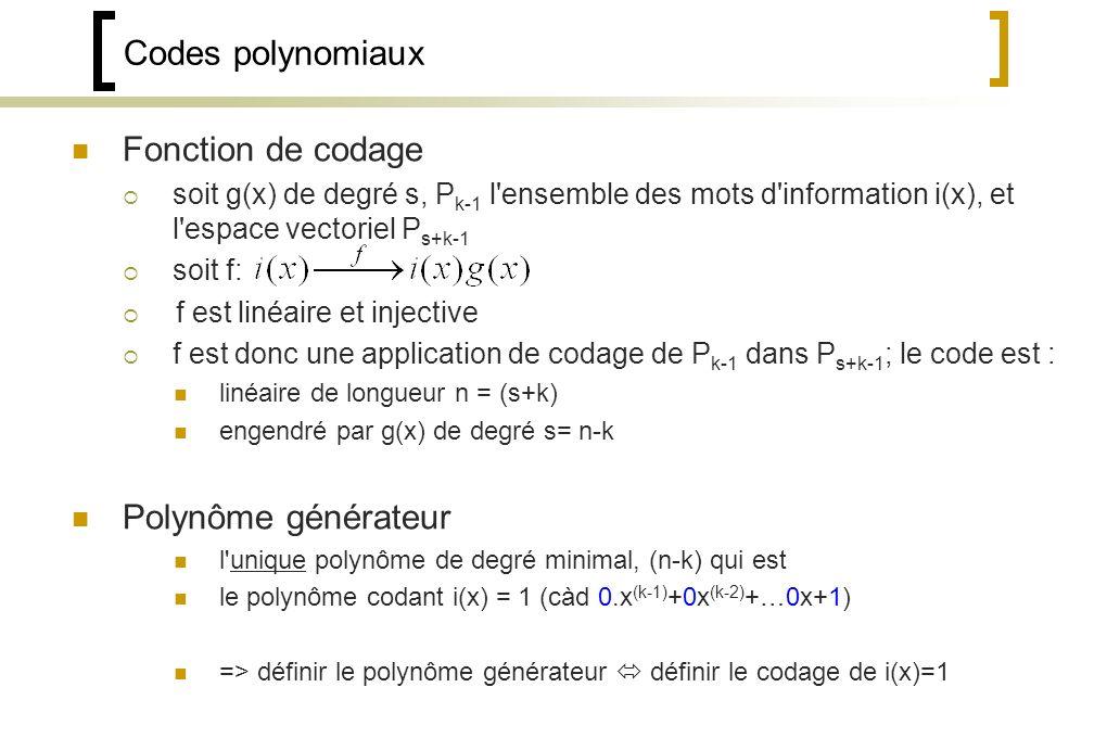 Codes polynomiaux Fonction de codage Polynôme générateur