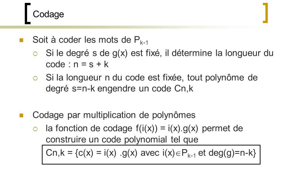 Codage Soit à coder les mots de Pk-1. Si le degré s de g(x) est fixé, il détermine la longueur du code : n = s + k.
