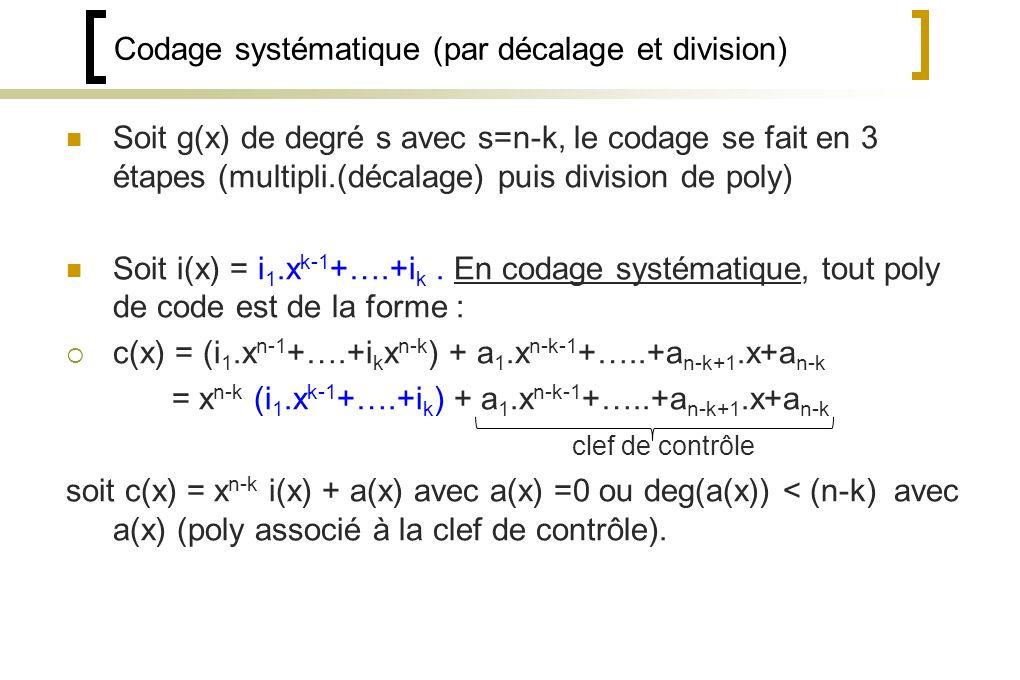 Codage systématique (par décalage et division)