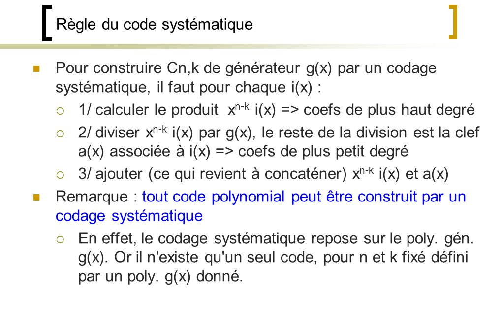 Règle du code systématique