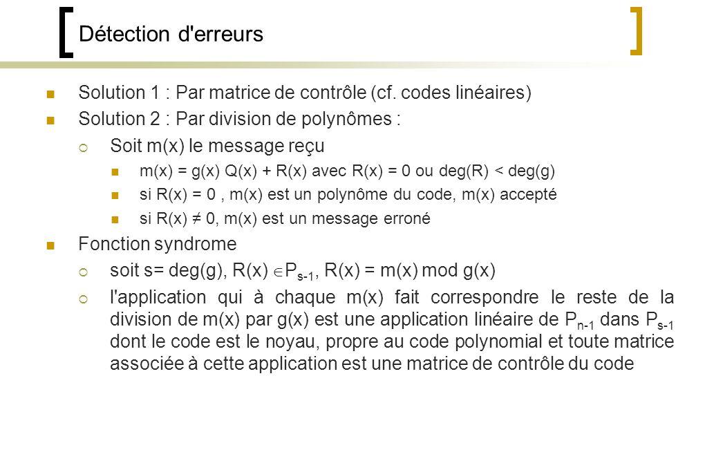 Détection d erreurs Solution 1 : Par matrice de contrôle (cf. codes linéaires) Solution 2 : Par division de polynômes :