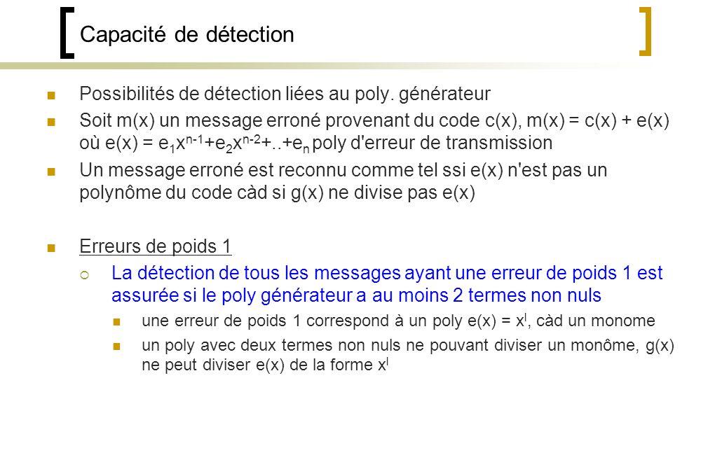 Capacité de détection Possibilités de détection liées au poly. générateur.