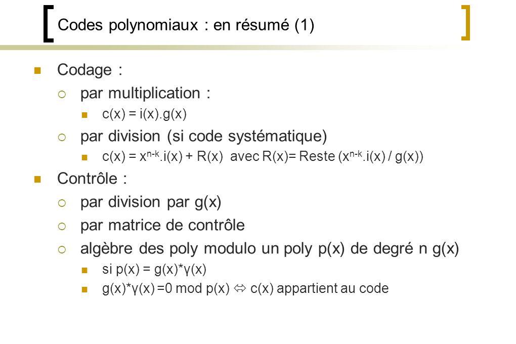 Codes polynomiaux : en résumé (1)