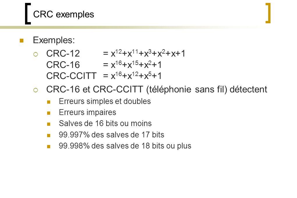 CRC-16 et CRC-CCITT (téléphonie sans fil) détectent