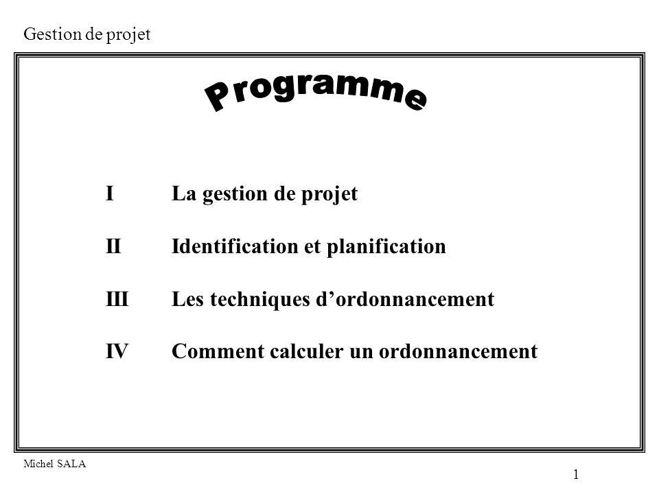 Programme I La gestion de projet II Identification et planification