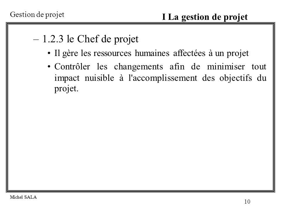 1.2.3 le Chef de projet I La gestion de projet