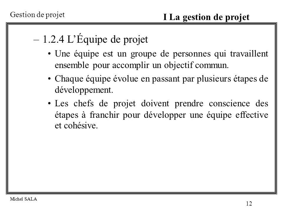 1.2.4 L'Équipe de projet I La gestion de projet