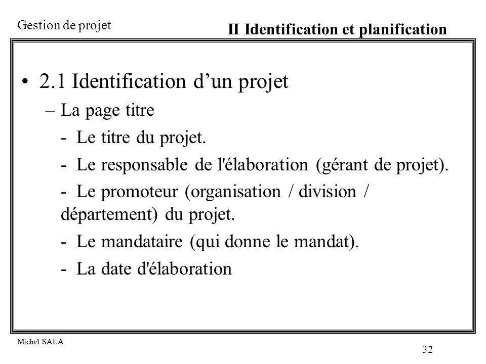 2.1 Identification d'un projet