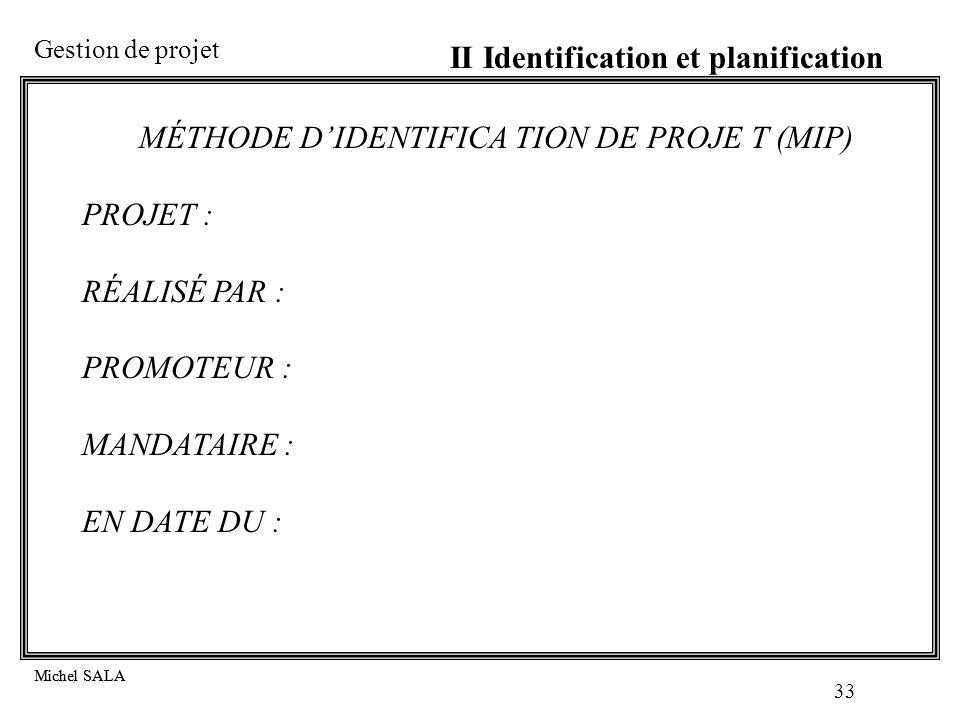 MÉTHODE D'IDENTIFICA TION DE PROJE T (MIP)