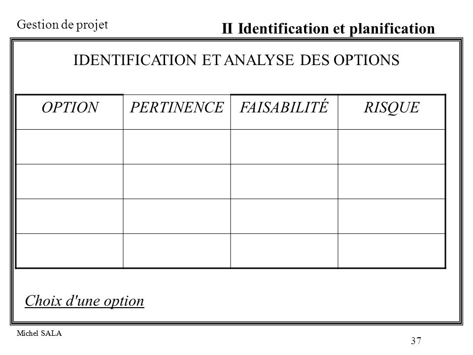 IDENTIFICATION ET ANALYSE DES OPTIONS