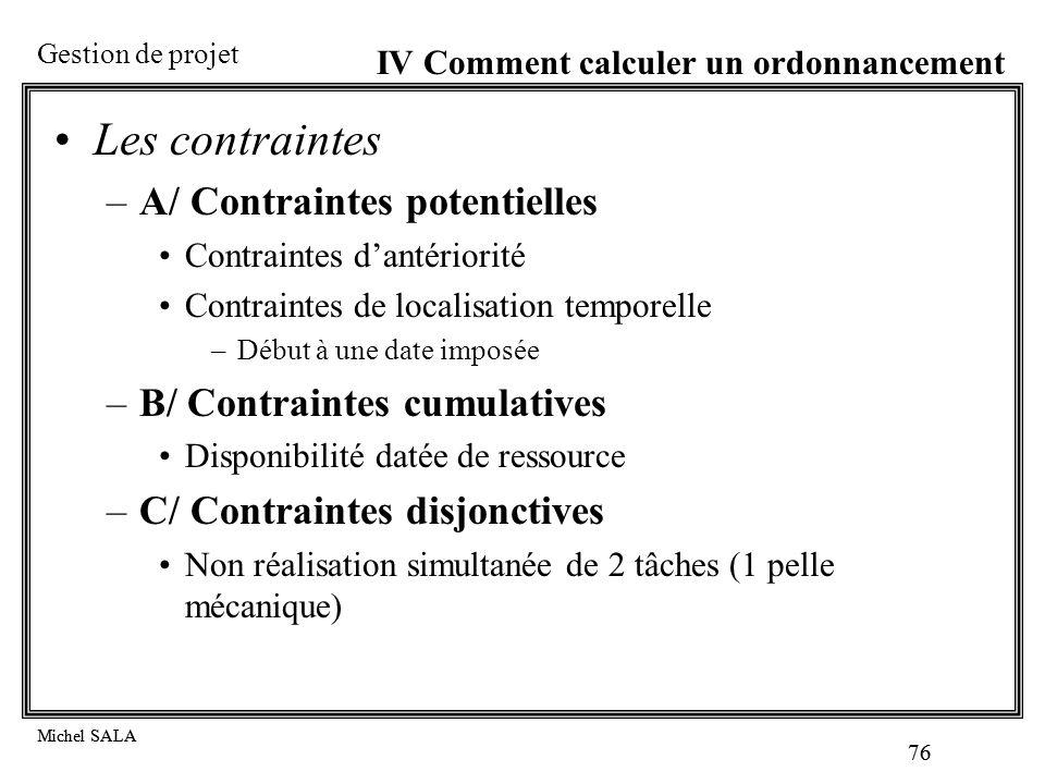 Les contraintes A/ Contraintes potentielles B/ Contraintes cumulatives