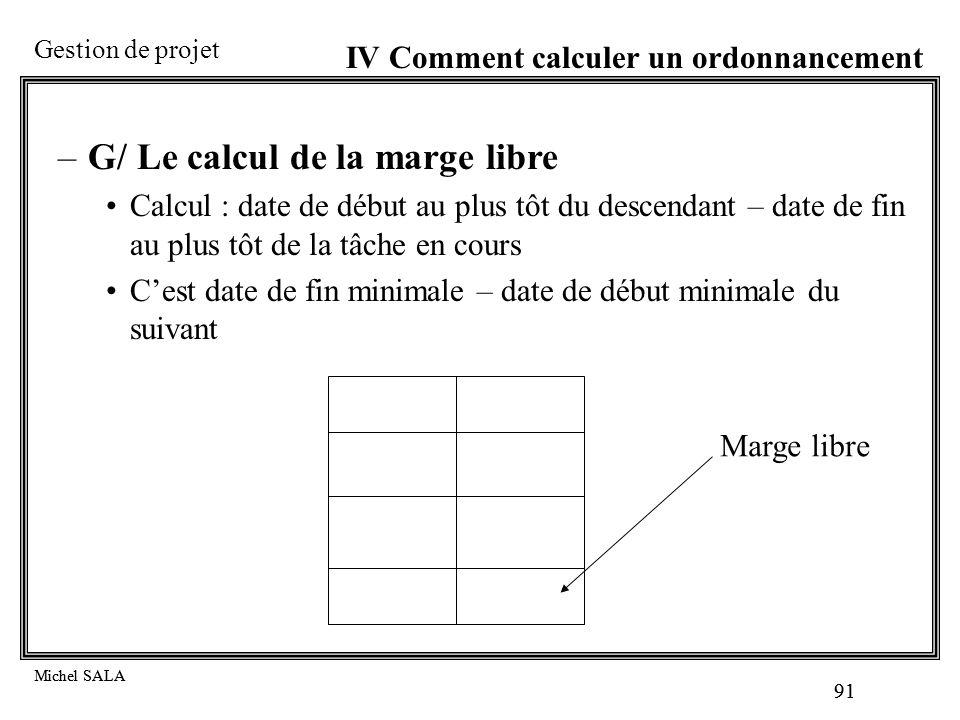 G/ Le calcul de la marge libre