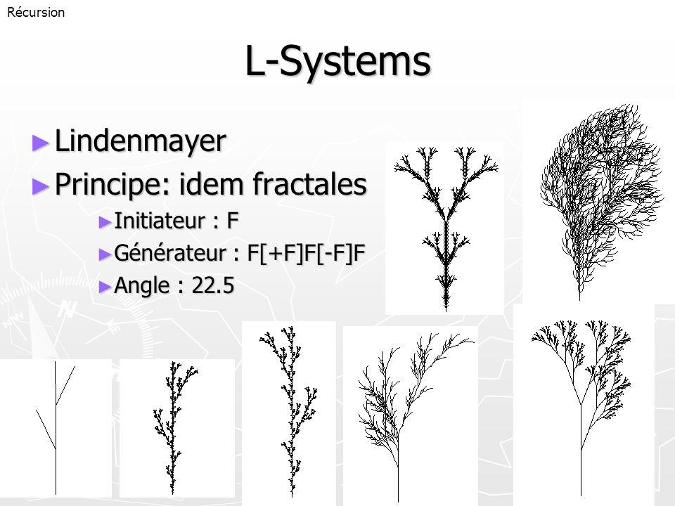 L-Systems Lindenmayer Principe: idem fractales Initiateur : F