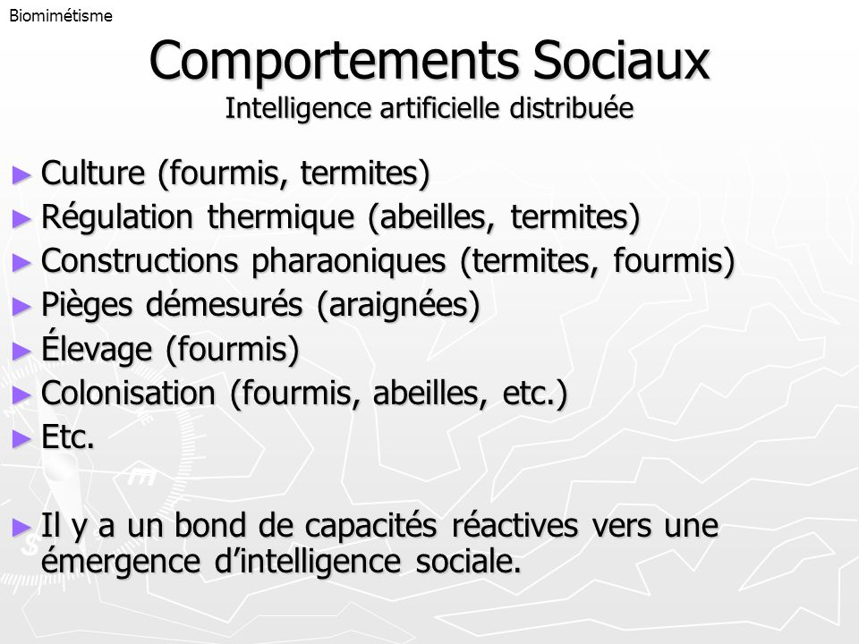 Comportements Sociaux Intelligence artificielle distribuée