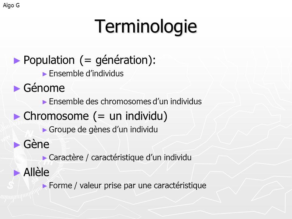Terminologie Population (= génération): Génome
