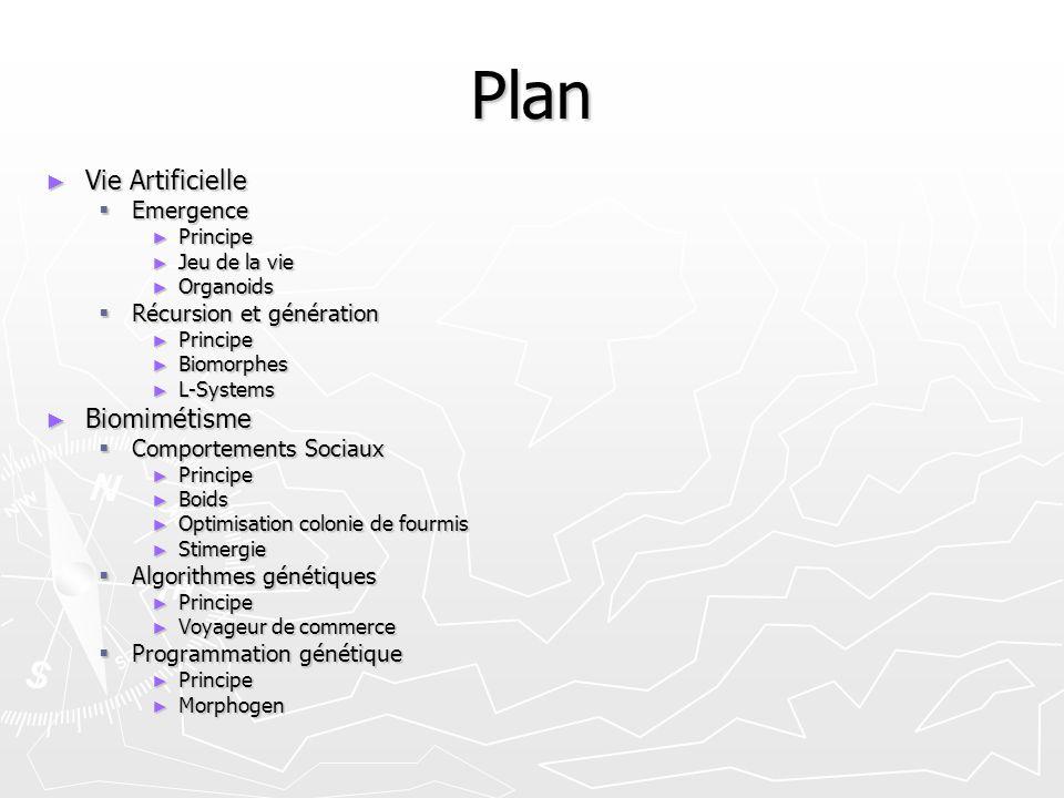 Plan Vie Artificielle Biomimétisme Emergence Récursion et génération