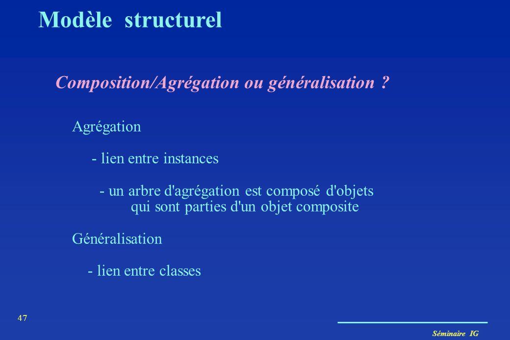 Modèle structurel Composition/Agrégation ou généralisation