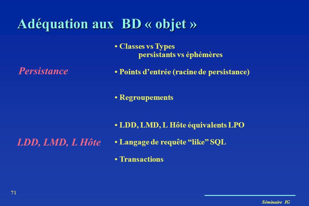 Adéquation aux BD « objet »