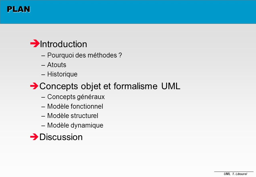 Introduction Concepts objet et formalisme UML Discussion PLAN