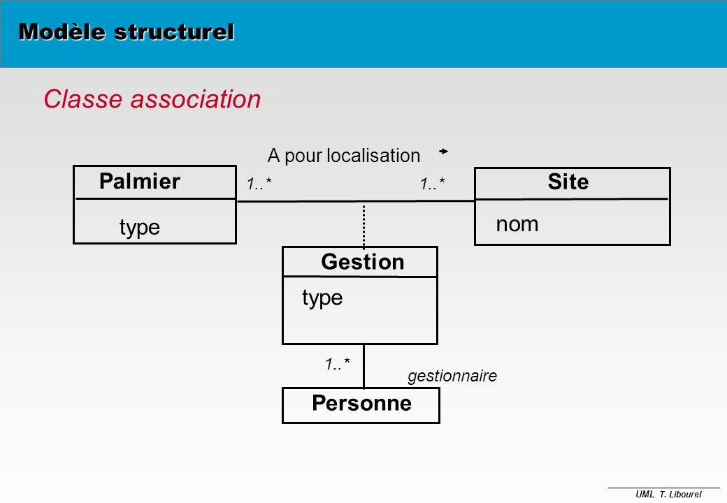 Classe association Modèle structurel Palmier Site type nom Gestion