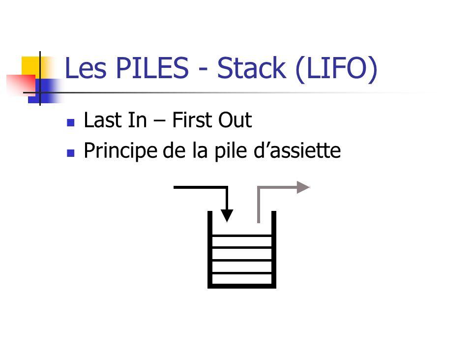 Les PILES - Stack (LIFO)
