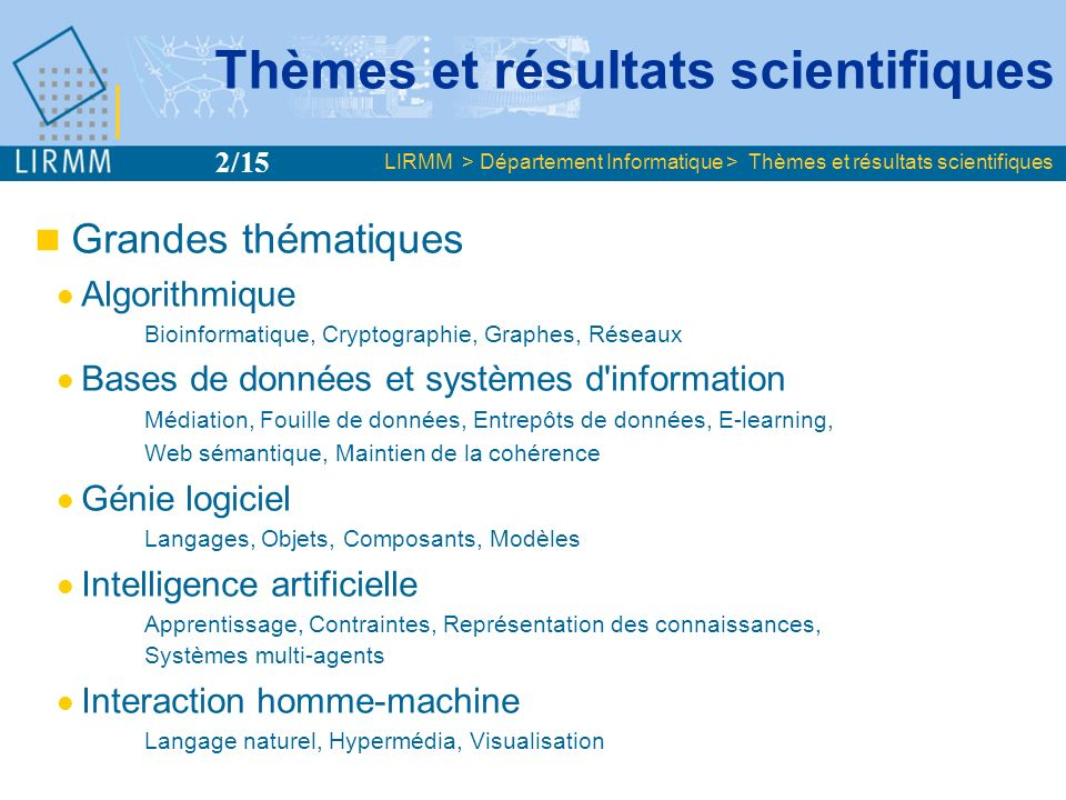Thèmes et résultats scientifiques