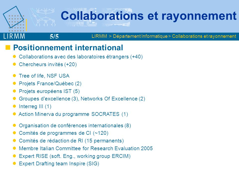 Collaborations et rayonnement