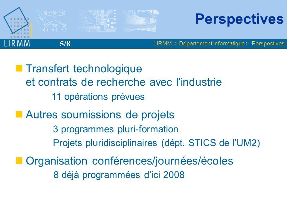 Perspectives 5/8. LIRMM > Département Informatique > Perspectives. Transfert technologique et contrats de recherche avec l'industrie.