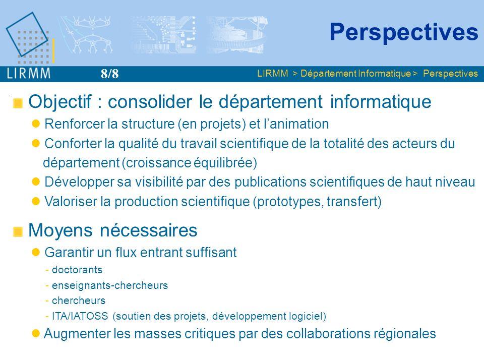 Perspectives Objectif : consolider le département informatique