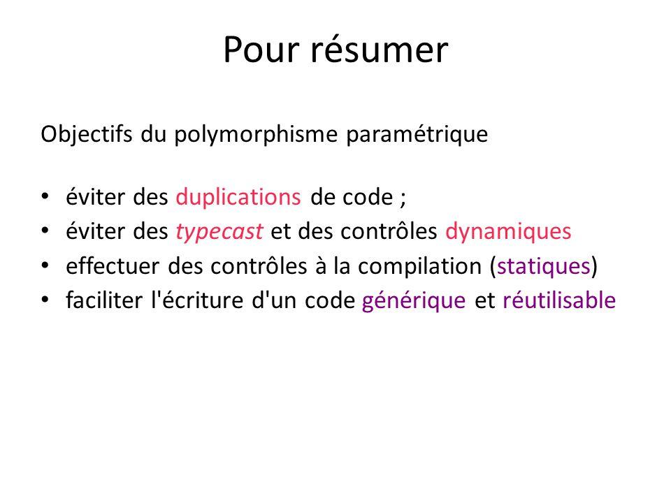 Pour résumer Objectifs du polymorphisme paramétrique
