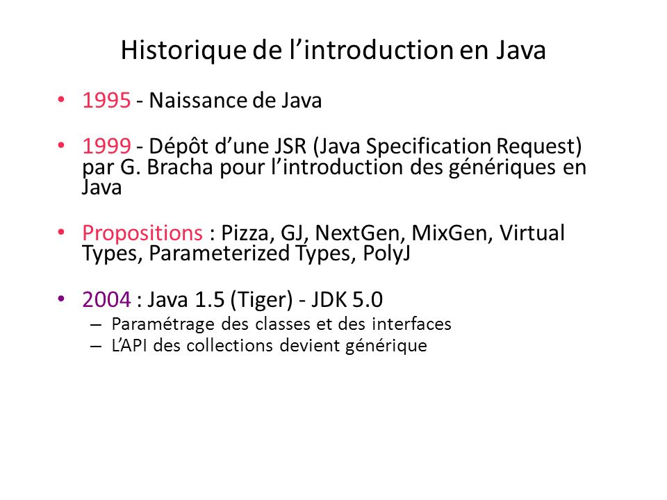 Historique de l'introduction en Java