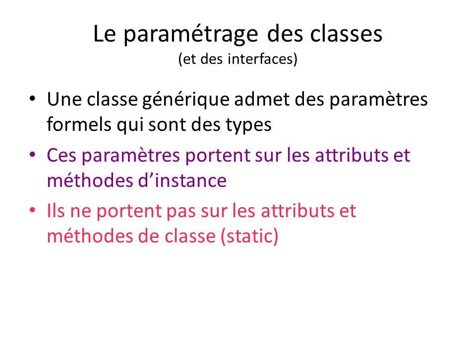 Le paramétrage des classes (et des interfaces)