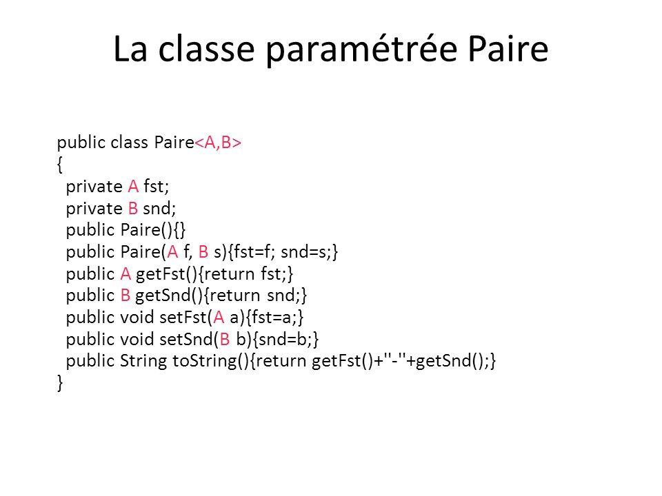 La classe paramétrée Paire