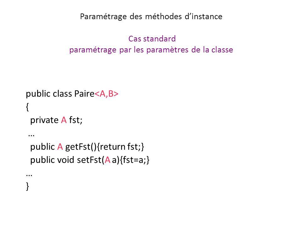 Paramétrage des méthodes d'instance Cas standard paramétrage par les paramètres de la classe
