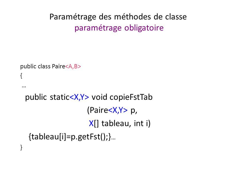 Paramétrage des méthodes de classe paramétrage obligatoire