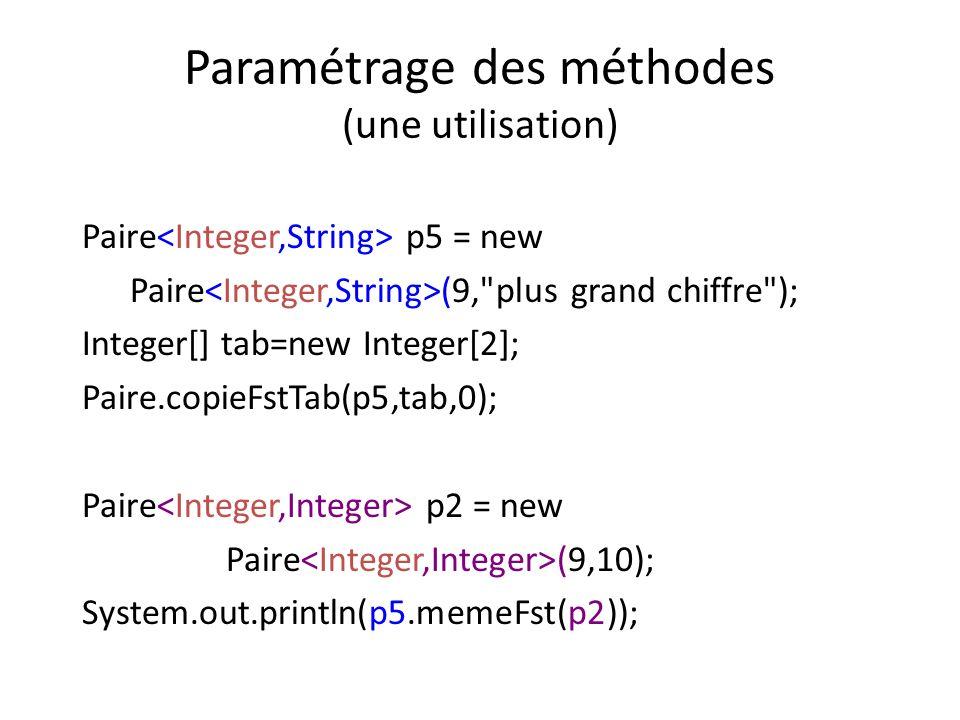 Paramétrage des méthodes (une utilisation)