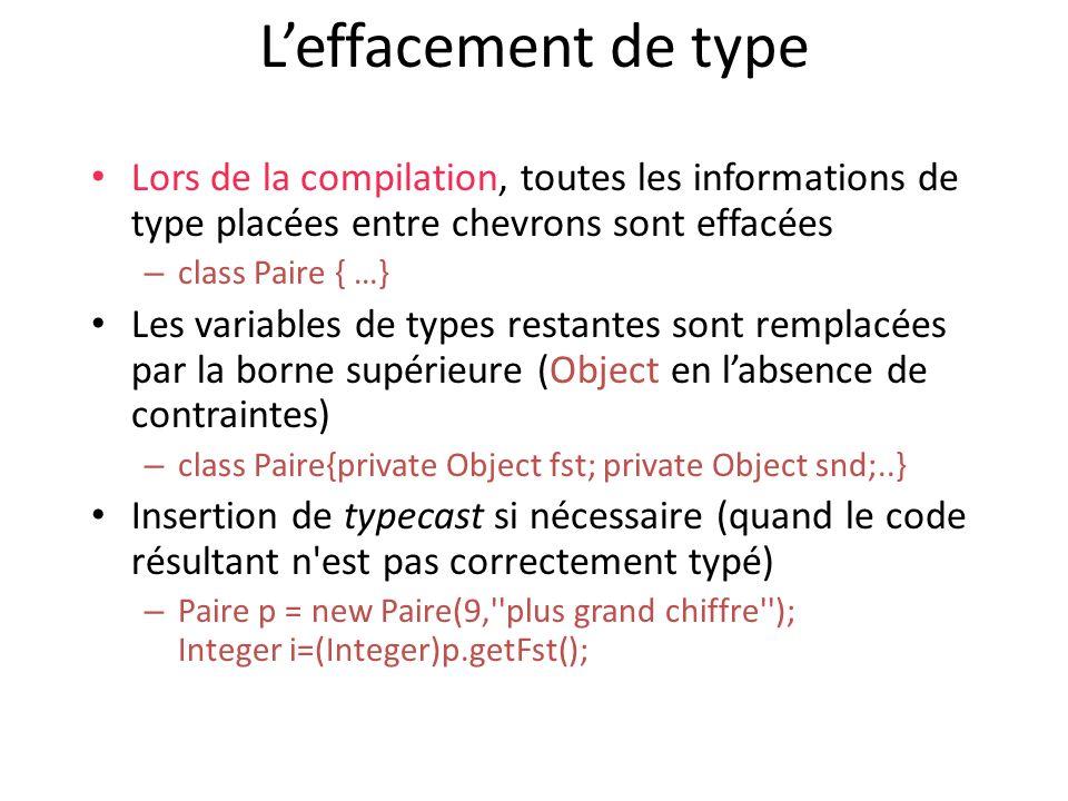 L'effacement de type Lors de la compilation, toutes les informations de type placées entre chevrons sont effacées.
