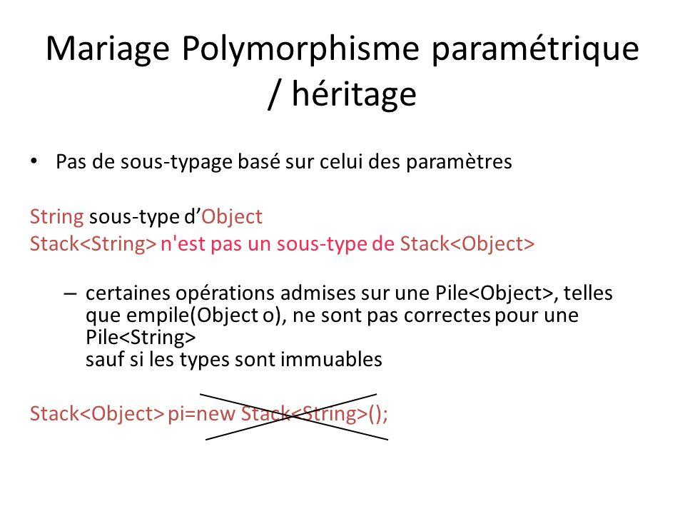 Mariage Polymorphisme paramétrique / héritage