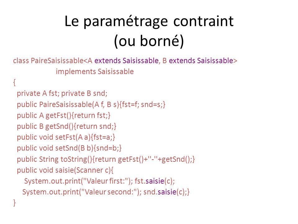 Le paramétrage contraint (ou borné)