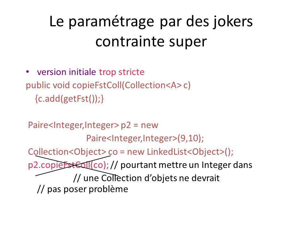 Le paramétrage par des jokers contrainte super