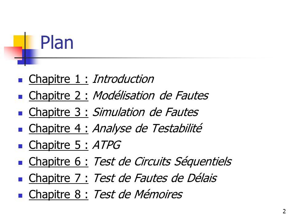 Plan Chapitre 1 : Introduction Chapitre 2 : Modélisation de Fautes