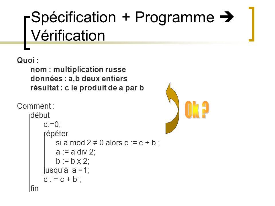 Spécification + Programme  Vérification