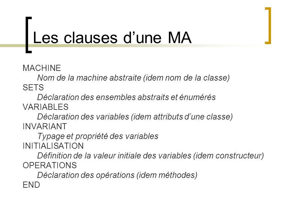 Les clauses d'une MA MACHINE