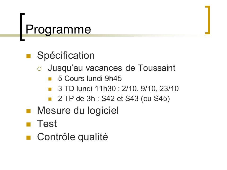 Programme Spécification Mesure du logiciel Test Contrôle qualité