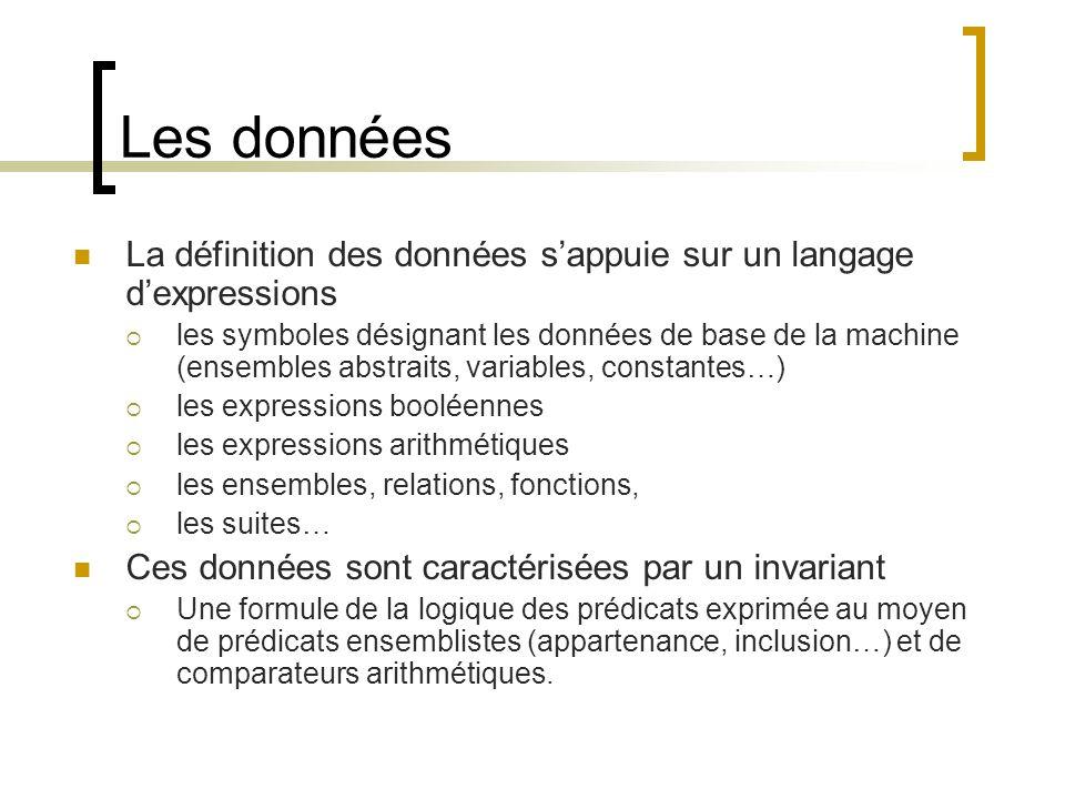 Les données La définition des données s'appuie sur un langage d'expressions.