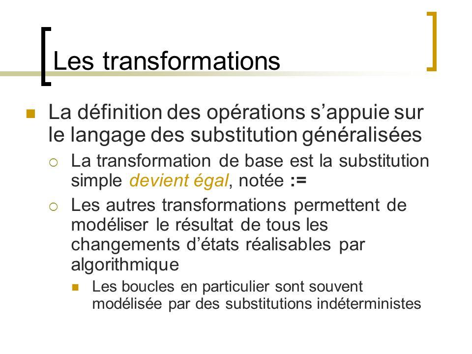 Les transformations La définition des opérations s'appuie sur le langage des substitution généralisées.