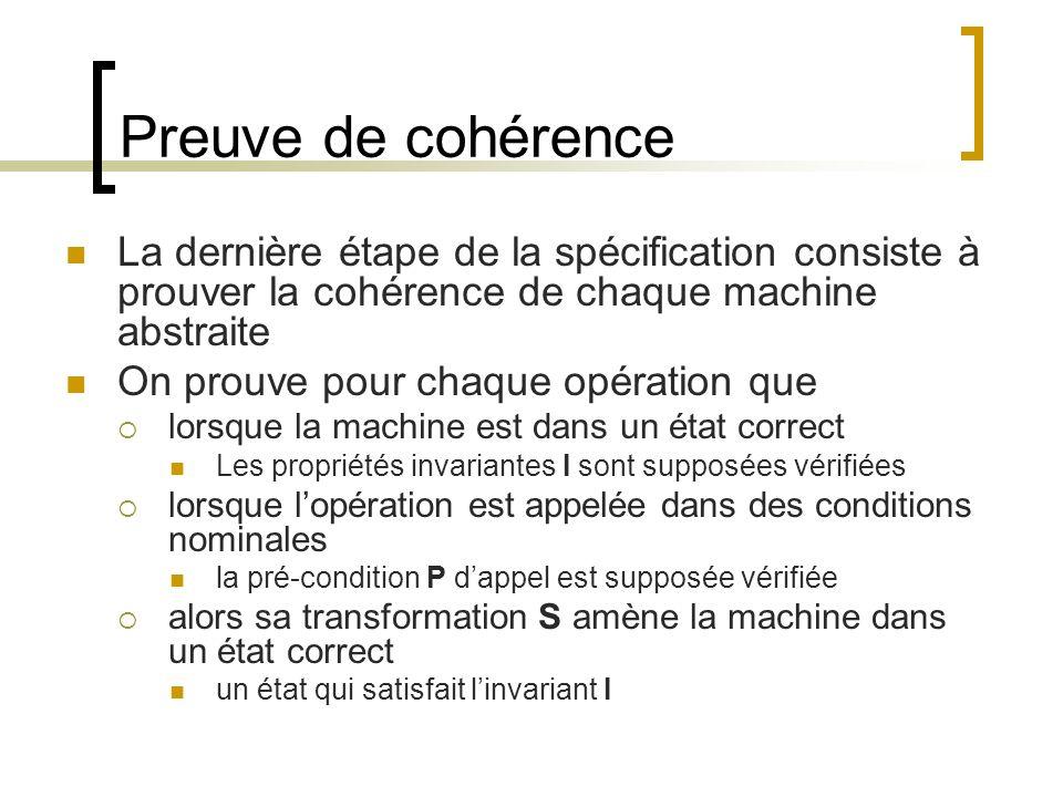 Preuve de cohérence La dernière étape de la spécification consiste à prouver la cohérence de chaque machine abstraite.