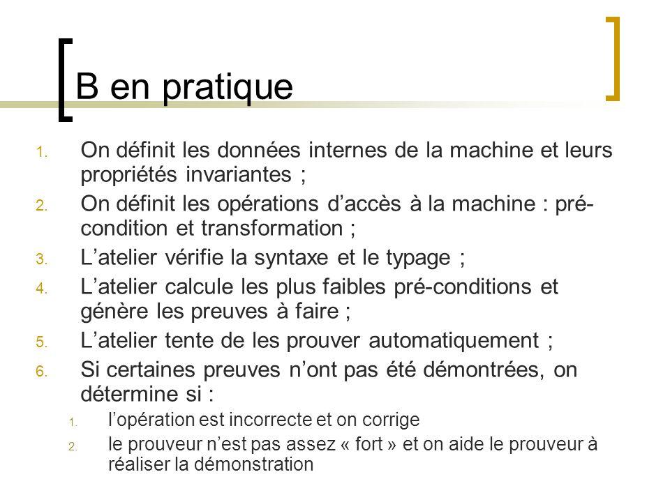 B en pratique On définit les données internes de la machine et leurs propriétés invariantes ;